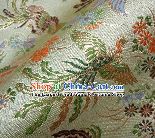 Asian Japanese Traditional Classical Phoenix Pattern Green Brocade Baldachin Fabric Kimono Tapestry Satin Silk Material