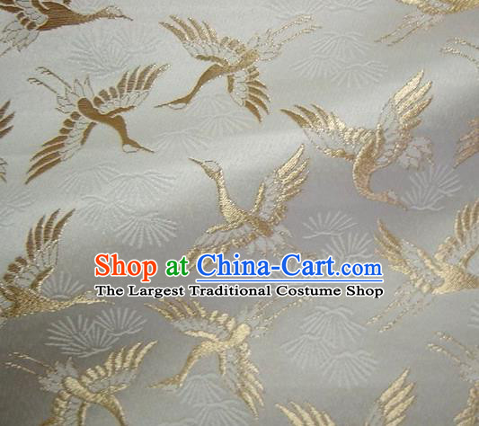 Asian Japanese Tapestry Satin Traditional Kimono Classical Golden Cranes Pattern Brocade Fabric Baldachin Silk Material