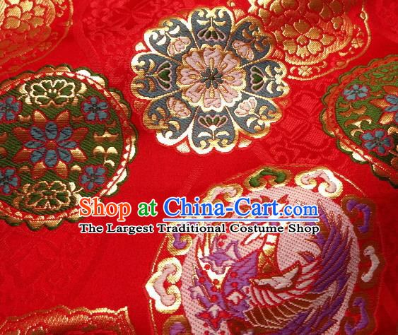 Asian Japanese Traditional Kimono Classical Phoenix Pattern Red Tapestry Satin Brocade Fabric Baldachin Silk Material