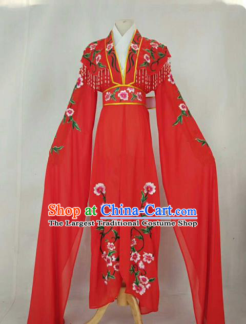 Chinese Traditional Beijing Opera Peri Princess Red Embroidered Dress Ancient Nobility Lady Costume for Women