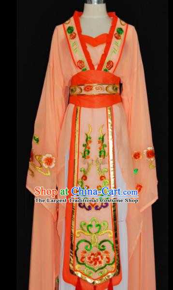 Chinese Traditional Beijing Opera Actress Orange Dress Peking Opera Princess Embroidered Costume for Women