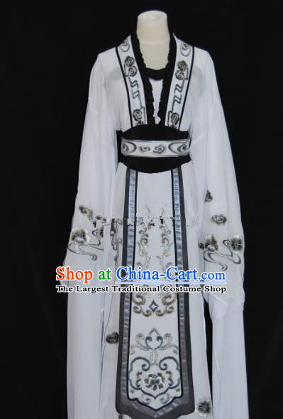 Chinese Traditional Beijing Opera Actress White Dress Peking Opera Princess Embroidered Costume for Women