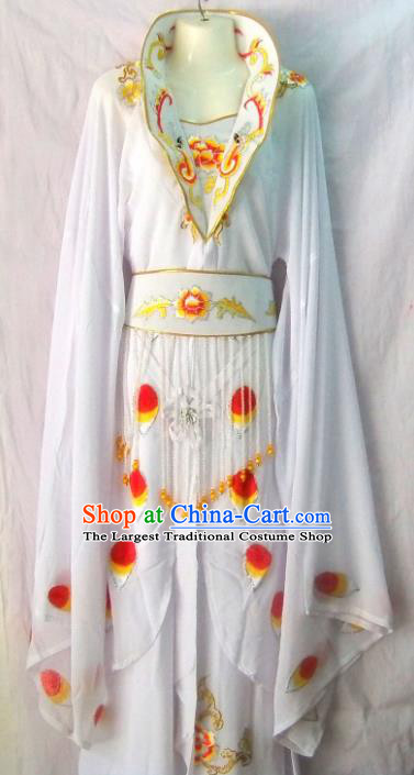 Chinese Traditional Beijing Opera Young Lady White Dress Ancient Peri Embroidered Costume for Women