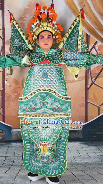 Chinese Traditional Beijing Opera Takefu Clothing Ancient General Green Costume for Men