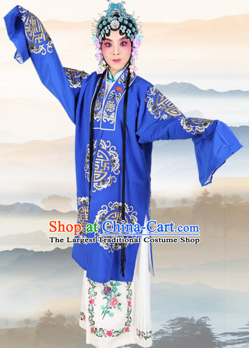 Chinese Traditional Beijing Opera Pantaloon Royalblue Dress Ancient Landlord Shiva Embroidered Costume for Women