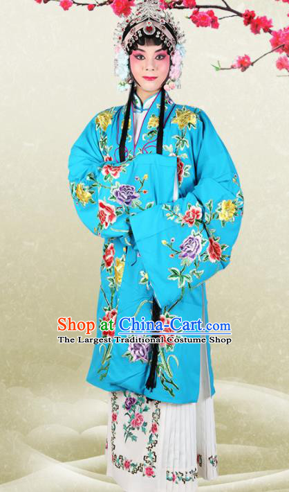 Chinese Traditional Beijing Opera Princess Blue Dress Ancient Palace Lady Embroidered Costume for Women