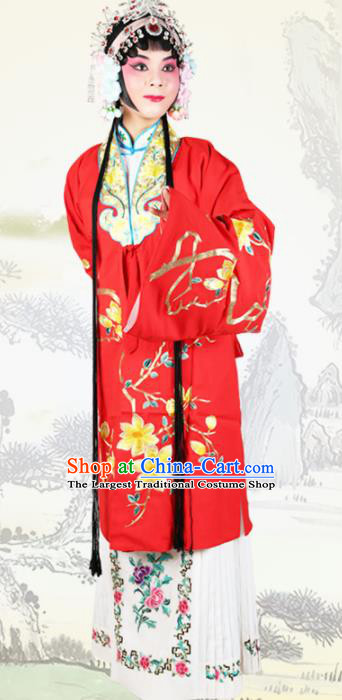 Chinese Traditional Beijing Opera Princess Embroidered Red Dress Ancient Palace Lady Costume for Women