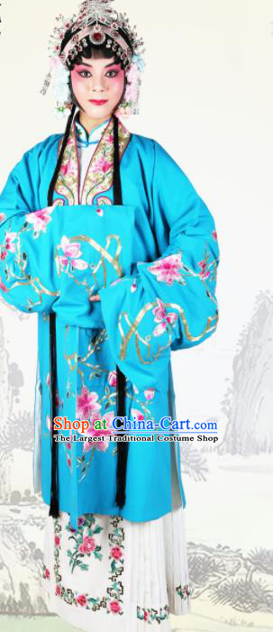 Chinese Traditional Beijing Opera Princess Embroidered Blue Dress Ancient Palace Lady Costume for Women
