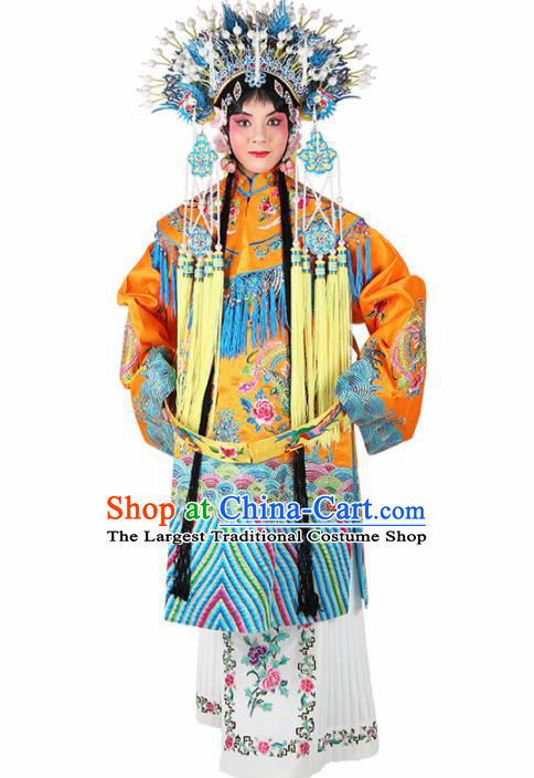 Chinese Traditional Beijing Opera Imperial Concubine Yellow Embroidered Robe Ancient Palace Lady Costume for Women