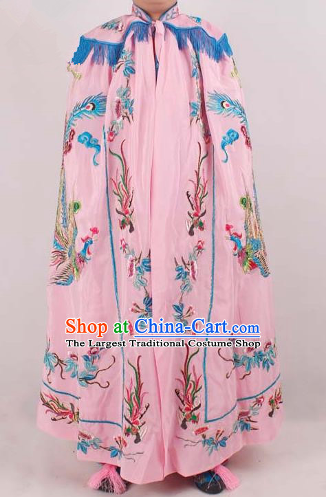Chinese Traditional Beijing Opera Diva Embroidered Pink Cloak Ancient Imperial Concubine Costume for Women