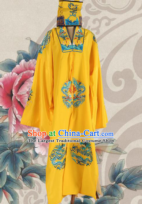 Chinese Traditional Beijing Opera Old Men Yellow Robe Ancient Landlord Costume for Men