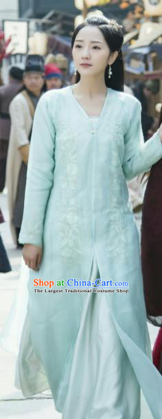 Chinese Drama Zhao Yao Nobility Lady Traditional Costume Ancient Swordswoman Blue Hanfu Dress for Women