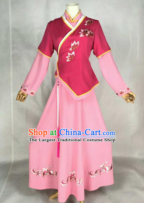 Chinese Traditional Beijing Opera Young Lady Embroidered Dress Ancient Court Maid Costume for Women