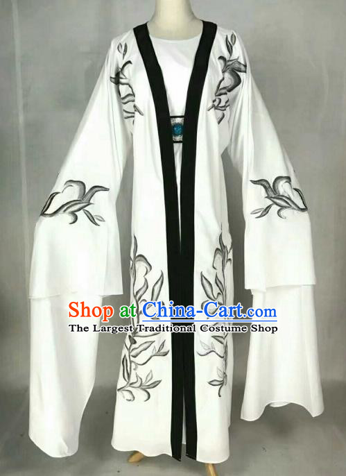 Chinese Traditional Beijing Opera Niche White Clothing Ancient Nobility Childe Scholar Embroidered Costume for Men