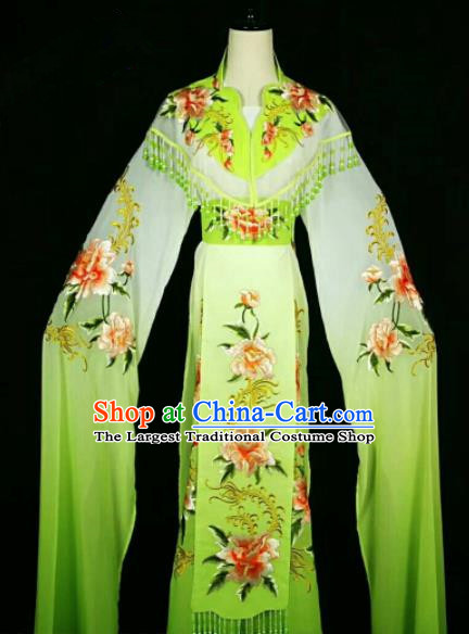 Traditional Chinese Peking Opera Peri Embroidered Peony Light Green Dress Ancient Court Princess Costume for Women