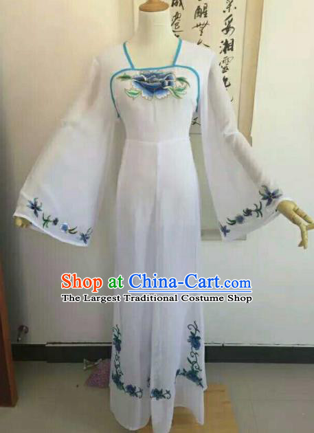 Traditional Chinese Peking Opera Peri Embroidered Blue Peony Dress Ancient Court Lady Costume for Women