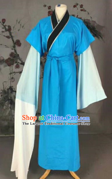 Chinese Traditional Beijing Opera Niche Blue Clothing Ancient Poor Scholar Costume for Men