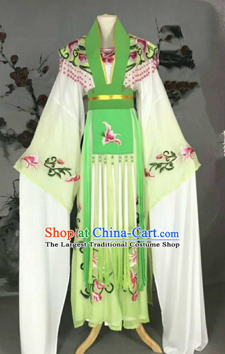 Traditional Chinese Peking Opera Nobility Lady Green Dress Ancient Peri Princess Costume for Women