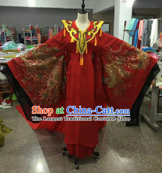Traditional Chinese Peking Opera Imperial Consort Wedding Red Dress Ancient Court Lady Embroidered Costume for Women