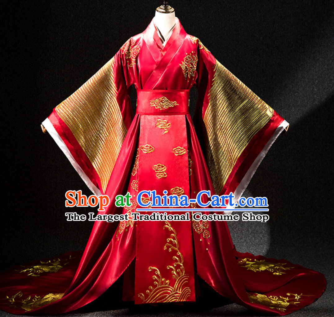 Ancient Chinese Empress Embroidered Phoenix Garment Complete Set