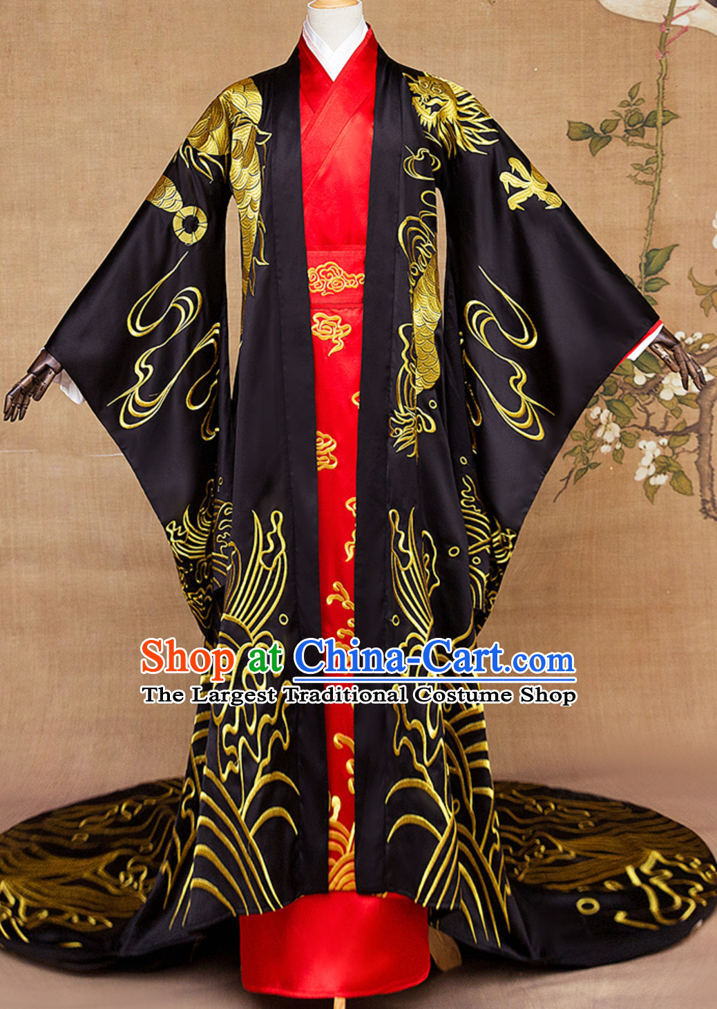 Ancient Chinese Emperor Embroidered Dragon Royal Clothing Complete Set