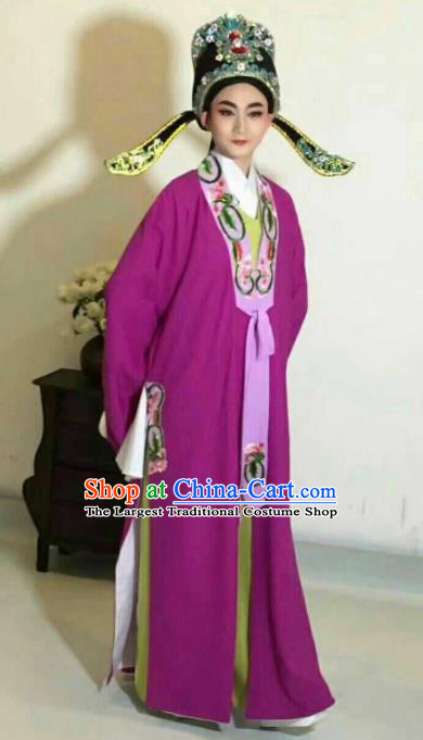Chinese Traditional Peking Opera Niche Costume Ancient Prince Embroidered Purple Clothing for Men