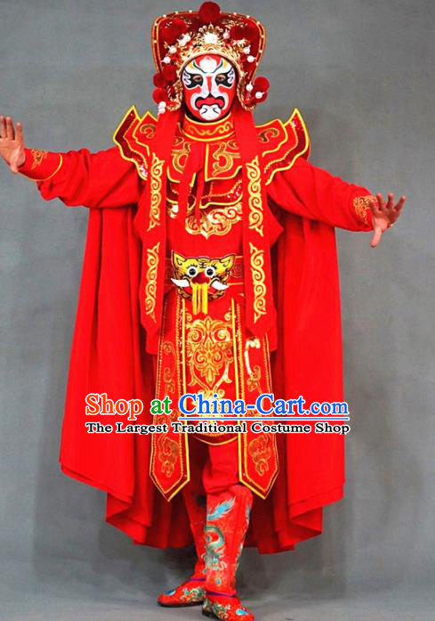 Chinese Traditional Sichuan Opera Face Changing Embroidered Red Costume Complete Set