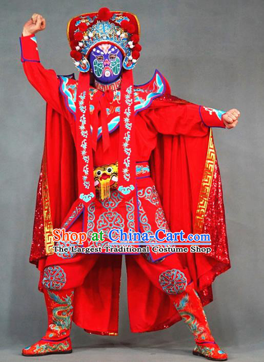 Chinese Traditional Sichuan Opera Face Changing Embroidered Costume and Hat Complete Set