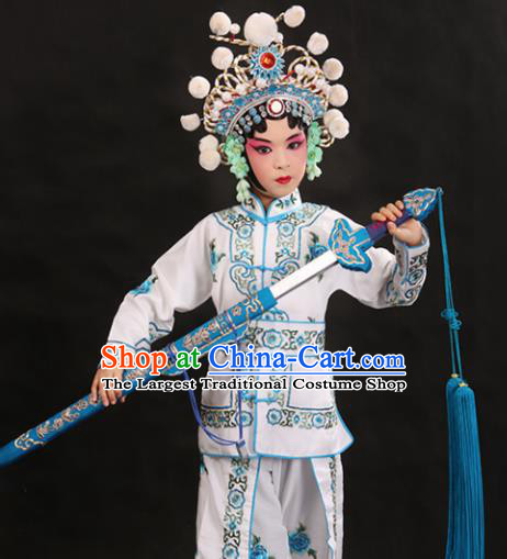Professional Chinese Traditional Beijing Opera Blues Costume Ancient Swordswomen White Clothing for Kids