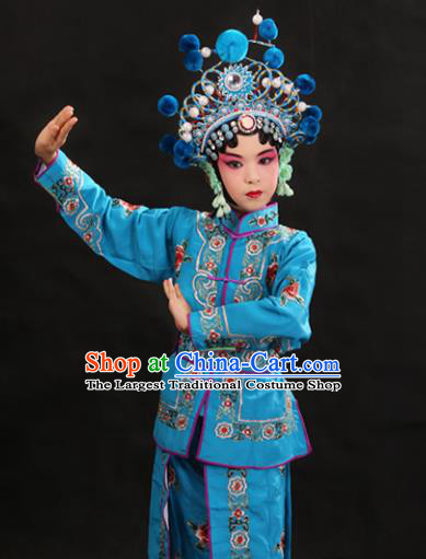Professional Chinese Traditional Beijing Opera Blues Costume Ancient Swordswomen Blue Clothing for Kids