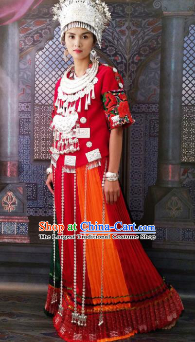 Chinese Traditional Hmong Ethnic Female Costume Miao Nationality Folk Dance Dress and Headdress for Women
