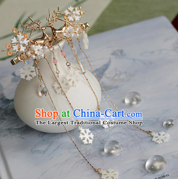 Chinese Traditional Hanfu Hair Accessories Ancient Princess Shell Tassel Hair Claws Deer Hairpins for Women