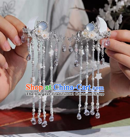 Chinese Traditional Hanfu Hair Accessories Ancient Princess Shell Moon Tassel Hair Claws for Women