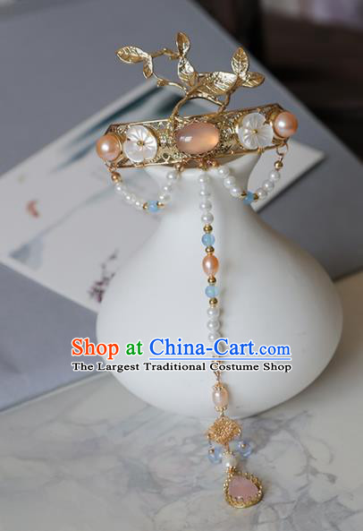 Chinese Traditional Hanfu Hair Accessories Ancient Princess Rose Chalcedony Tassel Hairpins for Women