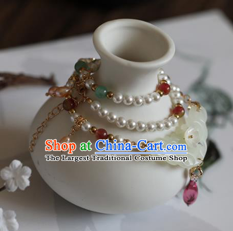 Chinese Traditional Hanfu Accessories Ancient Princess Jade Necklace for Women