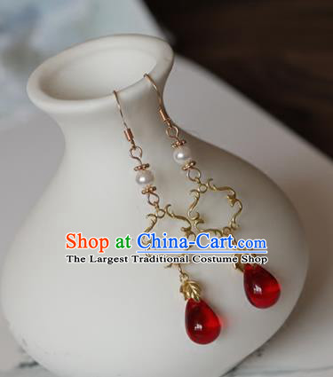 Chinese Traditional Hanfu Ear Accessories Ancient Princess Agate Earrings for Women