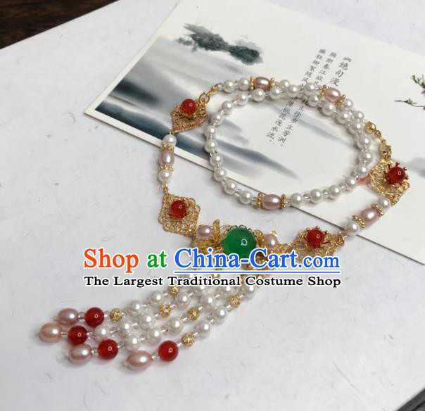Chinese Traditional Hanfu Accessories Ancient Princess Pearls Hanfu Necklace for Women