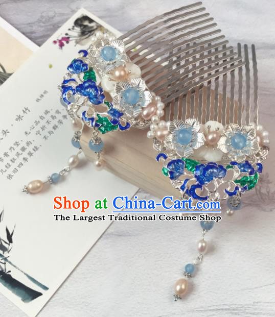 Chinese Ancient Princess Blueing Pearls Tassel Hair Combs Traditional Hanfu Hair Accessories for Women