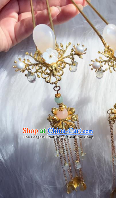 Chinese Ancient Princess Rose Chalcedony Tassel Hairpins Traditional Hanfu Hair Accessories for Women