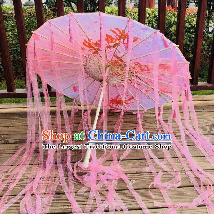 Chinese Ancient Drama Prop Silk Umbrella Traditional Handmade Pink Ribbon Umbrellas