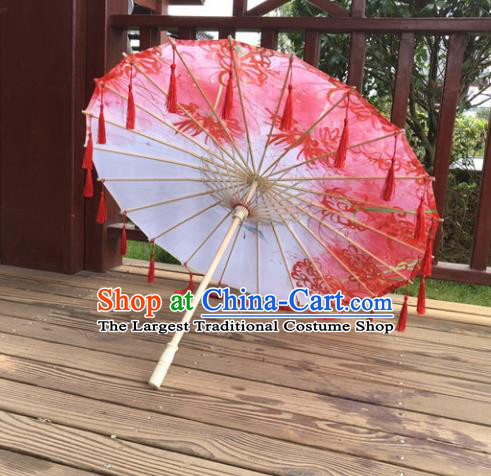 Chinese Ancient Drama Prop Printing Silk Umbrella Traditional Handmade Red Tassel Umbrellas