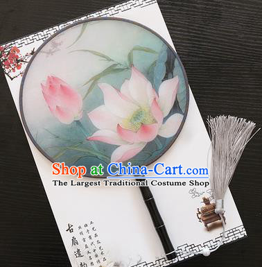Chinese Traditional Palace Fans Ancient Princess Printing Lotus Round Fans for Women