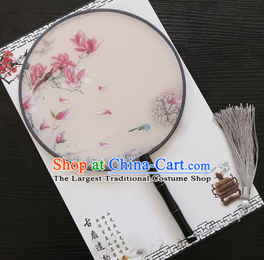 Chinese Traditional Palace Fans Ancient Princess Printing Magnolia Round Fans for Women