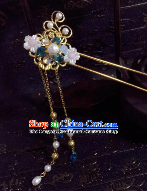 Chinese Ancient Princess Tassel Step Shake Hairpins Traditional Hanfu Hair Accessories for Women