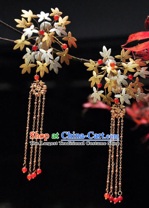 Chinese Ancient Princess Maple Leaf Hair Claws Tassel Hairpins Traditional Hanfu Hair Accessories for Women
