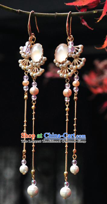 Chinese Traditional Hanfu Jewelry Accessories Ancient Princess Pine Tassel Earrings for Women