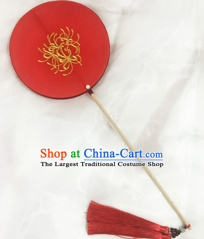 Chinese Traditional Palace Fans Ancient Princess Hanfu Wedding Red Round Fans for Women
