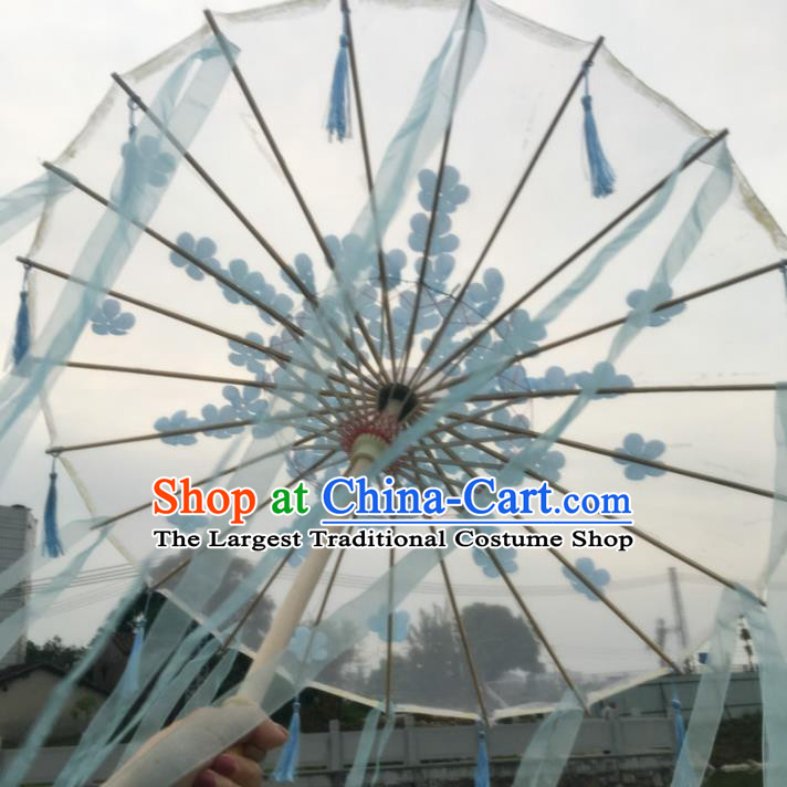 Chinese Ancient Princess Blue Ribbon Umbrella Traditional Handmade Silk Umbrellas for Women