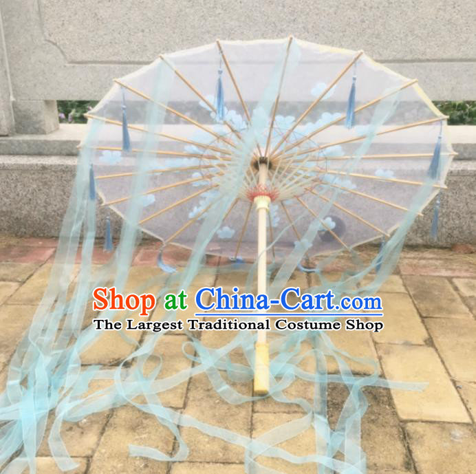 Chinese Ancient Princess Ribbon Umbrella Traditional Handmade Silk Umbrellas for Women