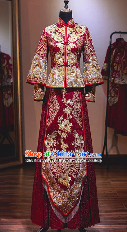 Chinese Traditional Wedding Xiuhe Suit Ancient Bride Embroidered Dress  for Women